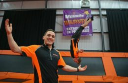 Velocity Trampoline extreme fun for all ages opening in Widnes. Pictured is Assistant Manager Leigh Spires with Liam Kevan performing the stunts.