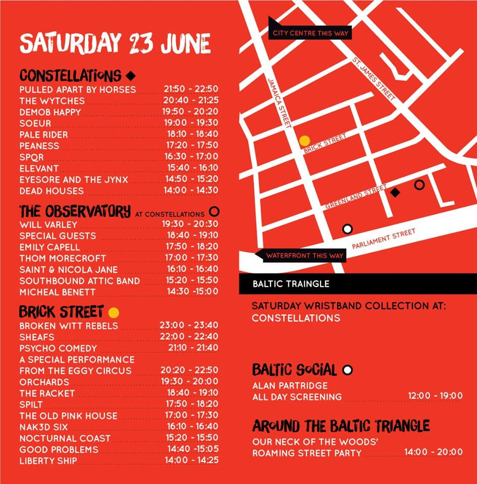Liverpool Calling 2018 Stage Times