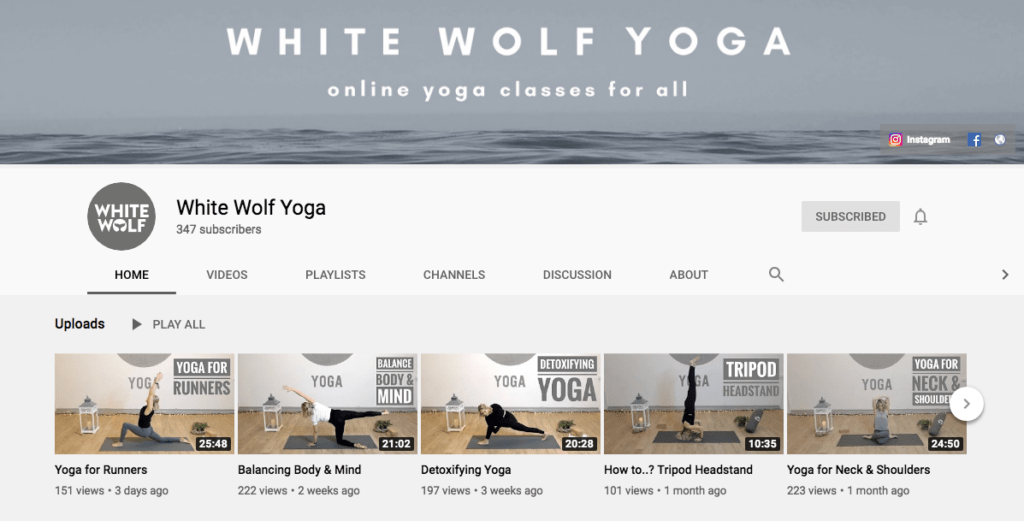 White Wolf Yoga Youtube Classes